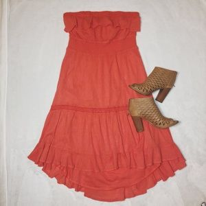 Anthropology Coral Strapless High Low Boho Dress